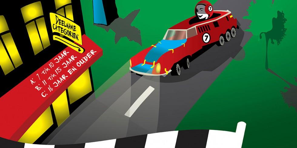 Poster voor een zeepkistenrace 2015.